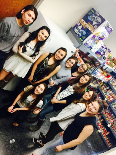 Browning High School students in the Food Pantry