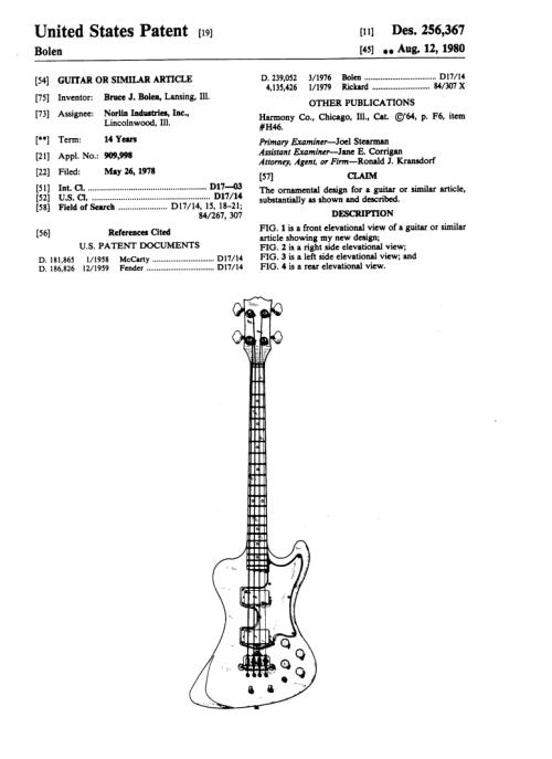 small resolution of design patent 256367 gibson rd artist bass bruce bolen norlin page 1