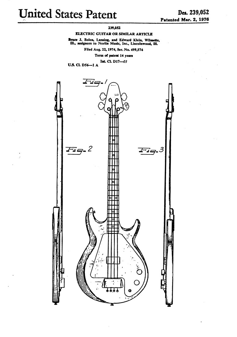 hight resolution of gibson grabber bass patent filed 1974 granted 1976 page 1