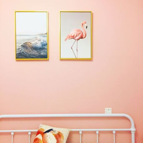 Flamingo and ocean prints on coral wall