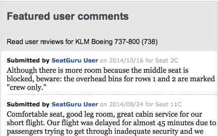 Seatguru User reviews