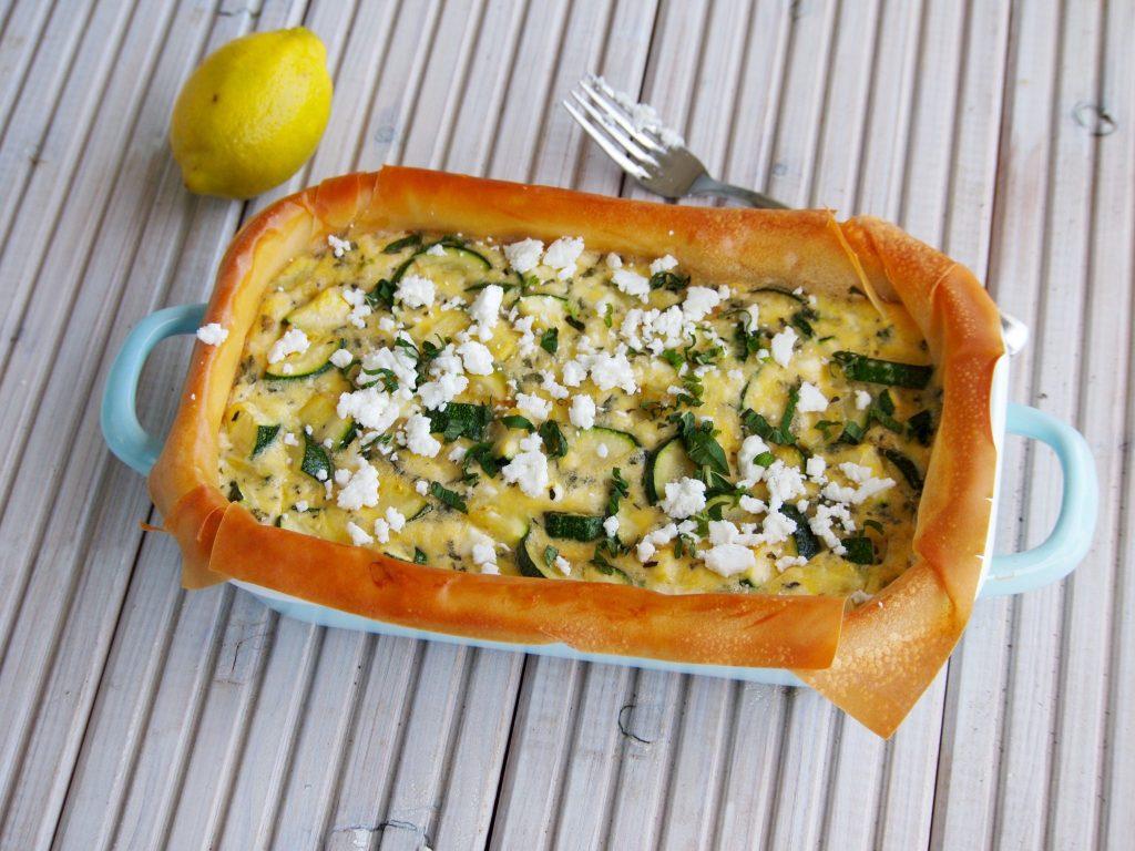Recept hartig taart met filodeeg courgette en feta