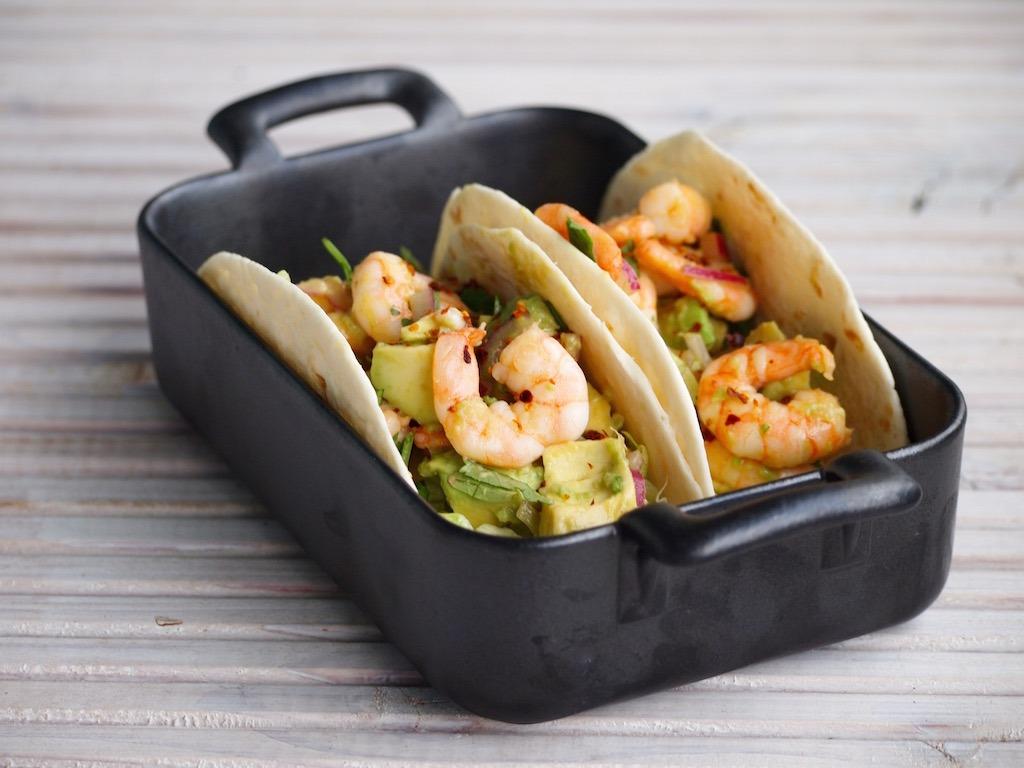 Snelle Garnalen en Avocado Wraps Taco's