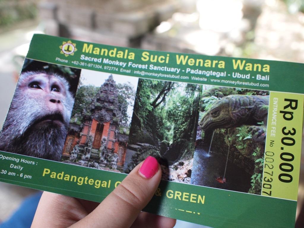 Monkey Forrest Ubud Bali entree kaartje prijs