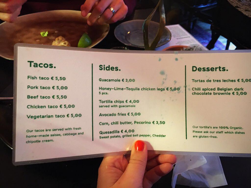 Menu Taqueria Tacobar Amsterdam West