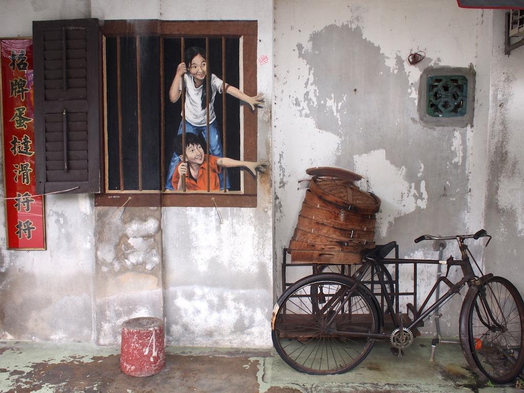Street art Penang met kinderen