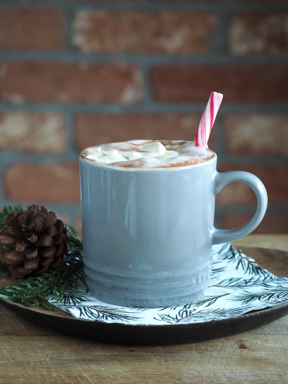 Perfecte warme chocolademelk met een vleugje pepermunt