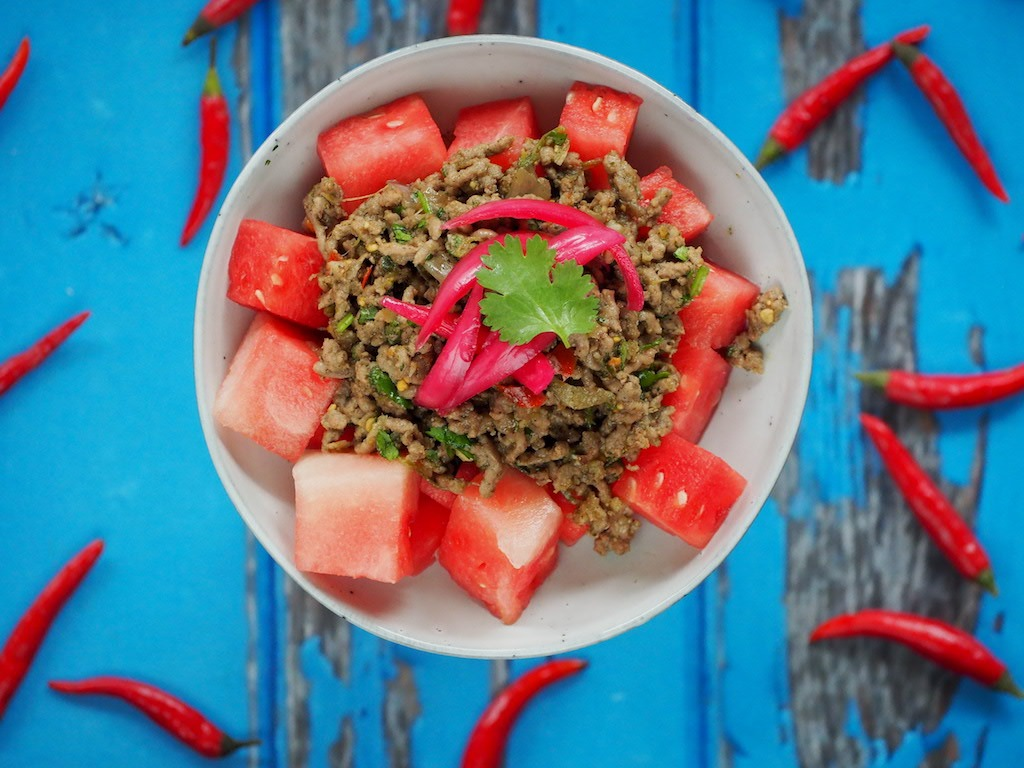 Thaise gehakt salade met watermeloen masterchef australia