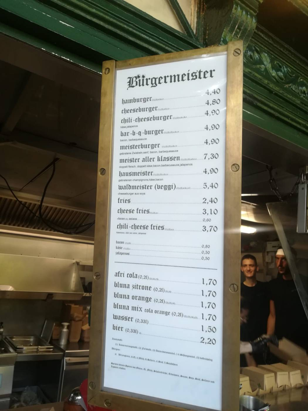 Menu Burgermeister Berlin Kreuzberg