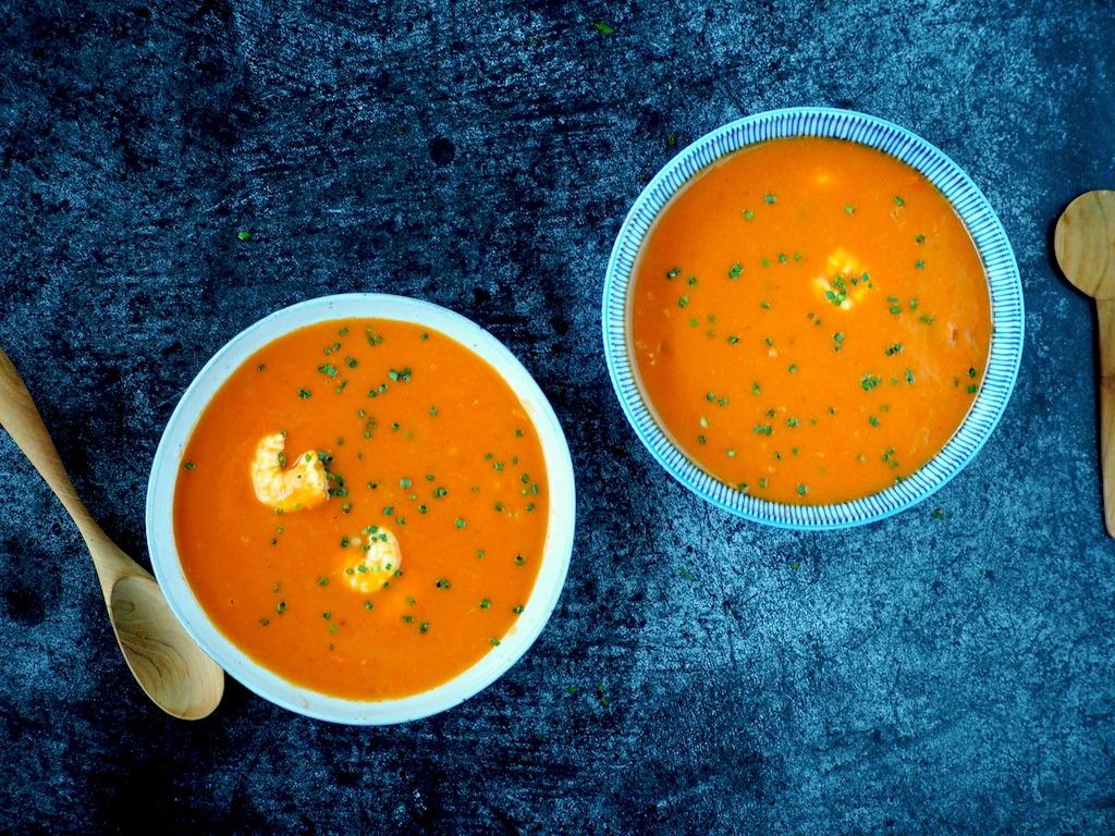 Tomatensoep met garnalen
