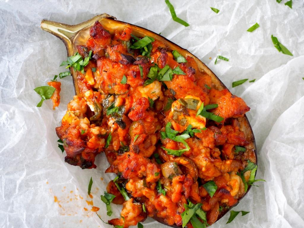 aubergine met kip en feta uit de oven