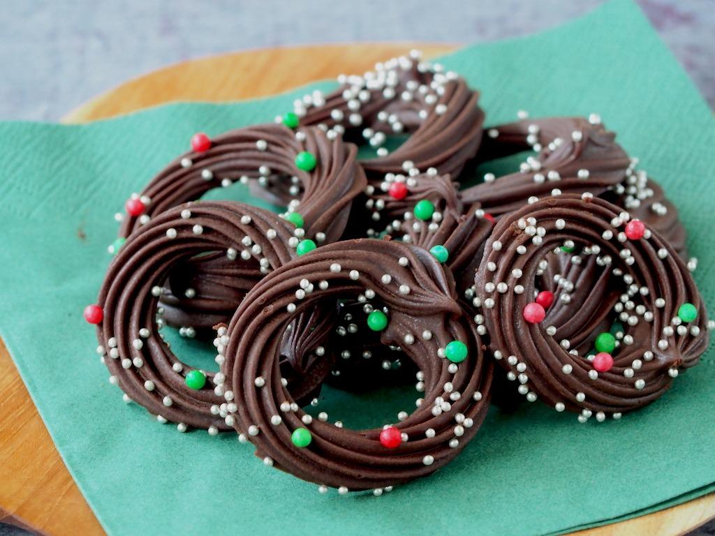 Kerstkransjes van chocolade