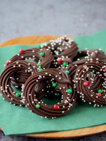 Romige chocolade kransjes met spikkels