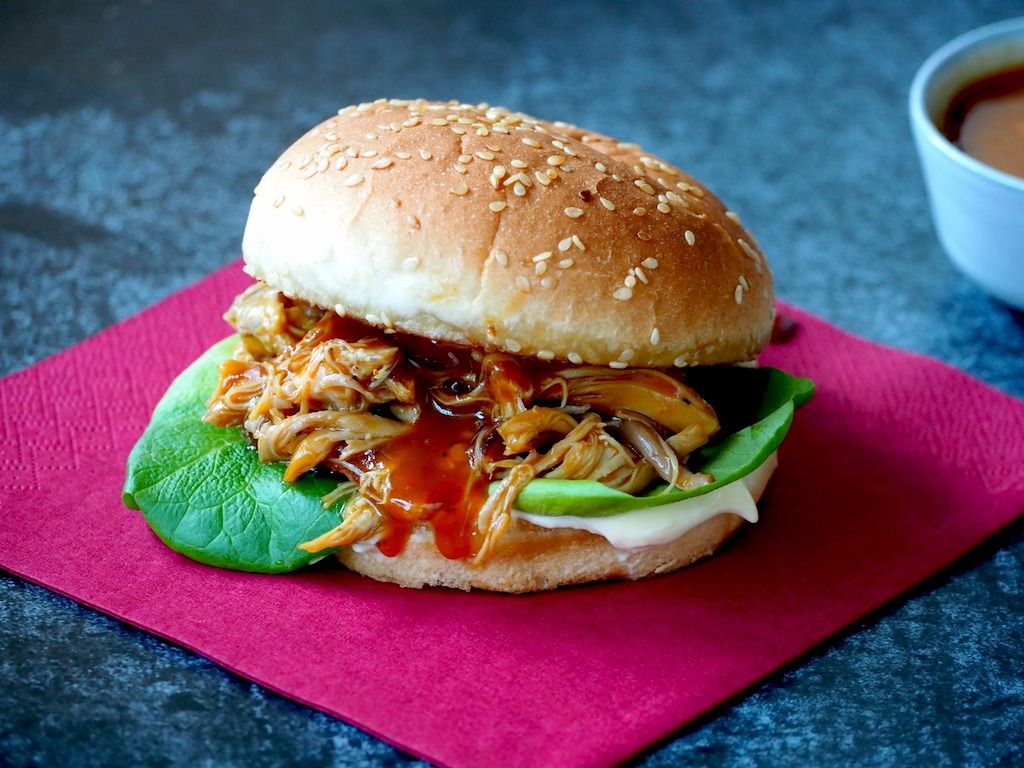 Lazy BBQ pulled chicken burger