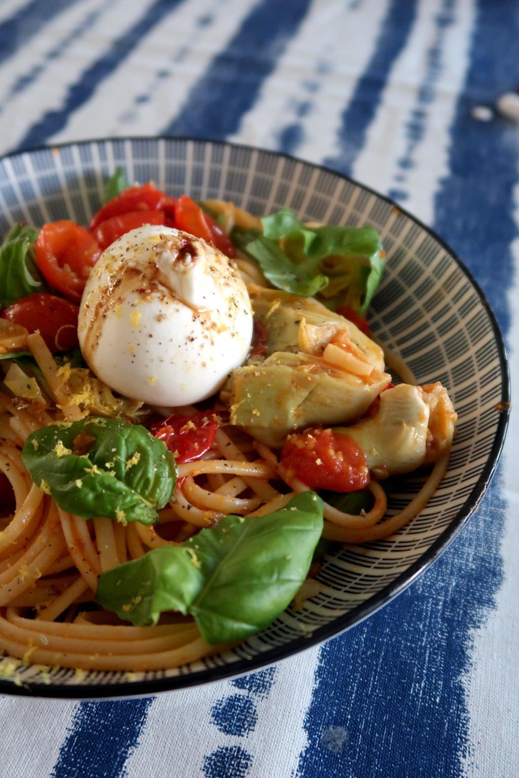 pasta artisjokke tomaat