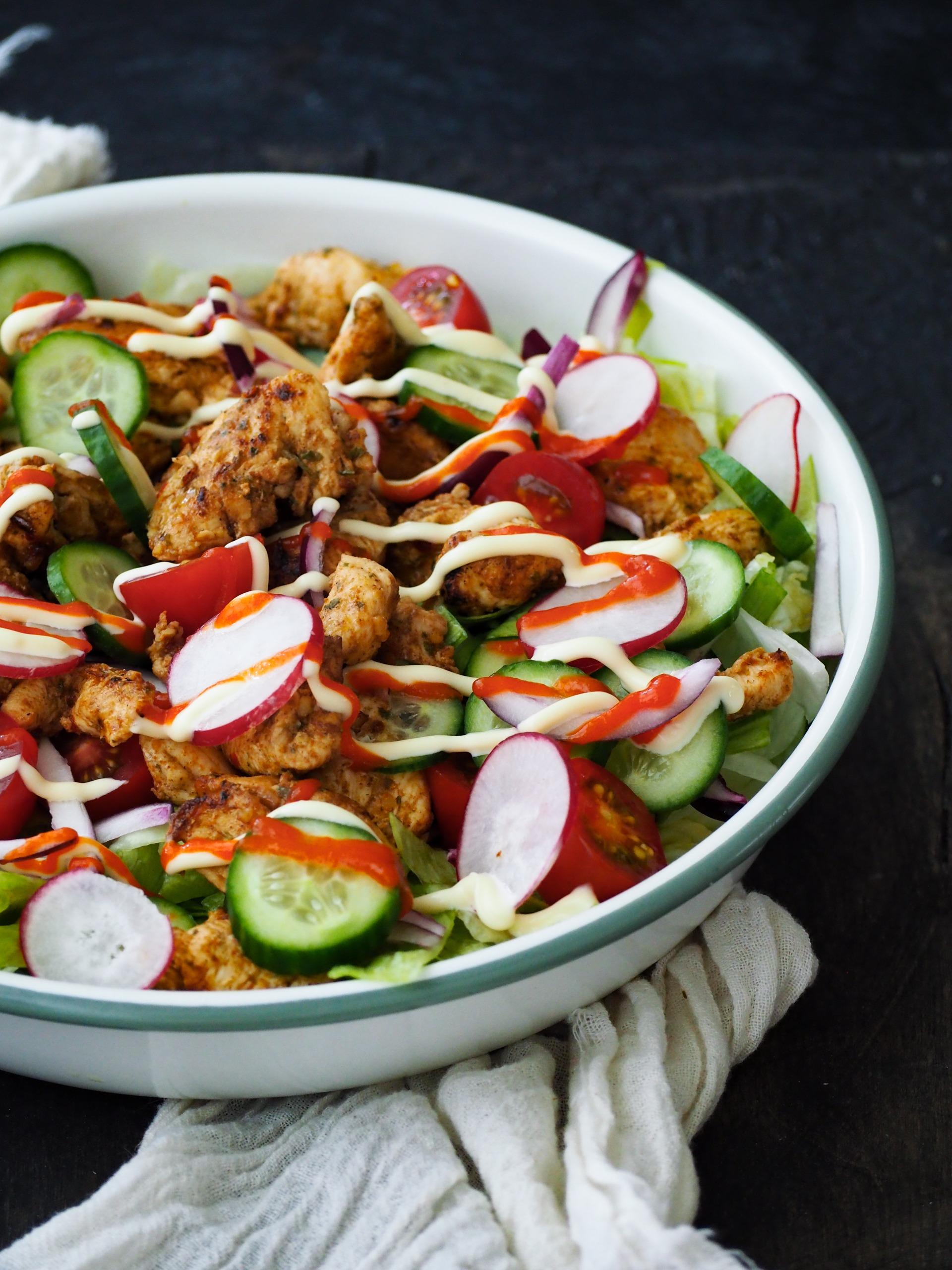 koolhydraatarme shoarma salade