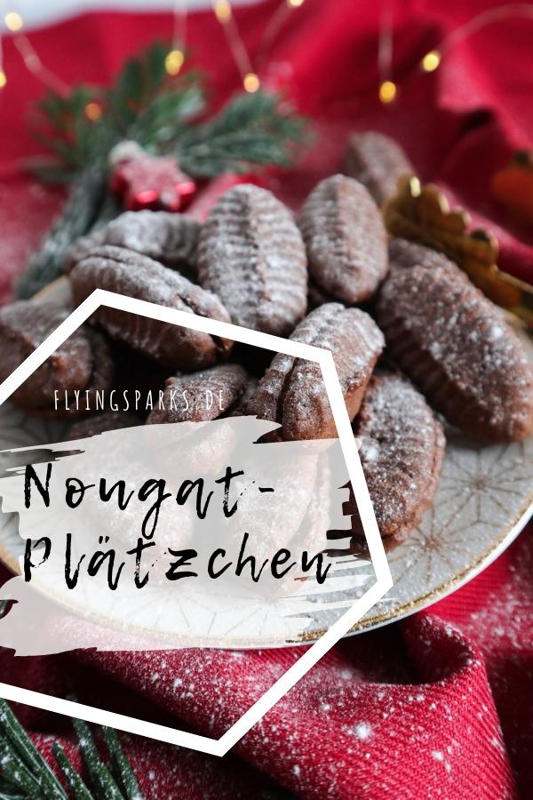 Nougatplätzchen schokoladige saftige Kekse mit Nuss-Nougat-Creme, Nutella, Nugat, Kekse, Weihnachten, Backen, Cookies, Baking, Christmas, Schoko, Schokolade