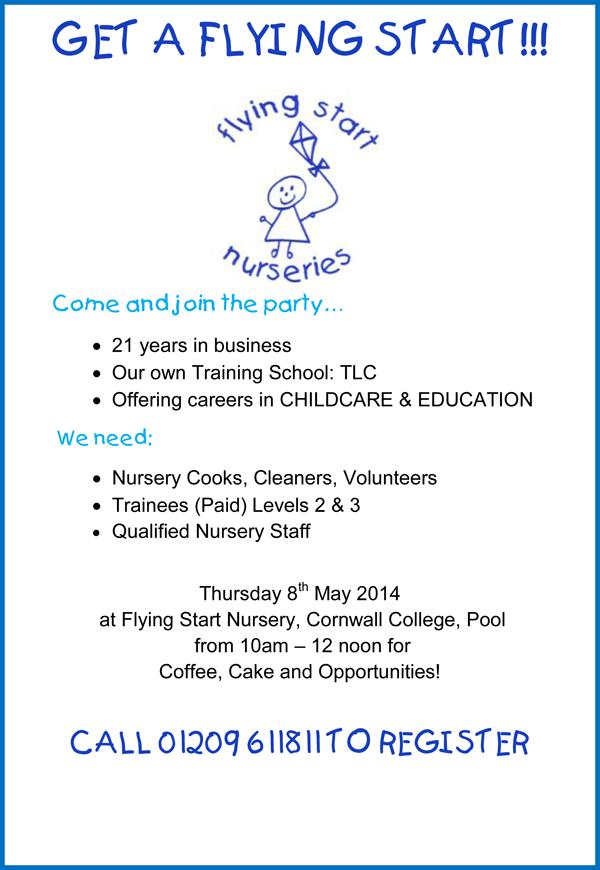 Recruitment OPEN DAY ! Flying Start Childcare Nurseries