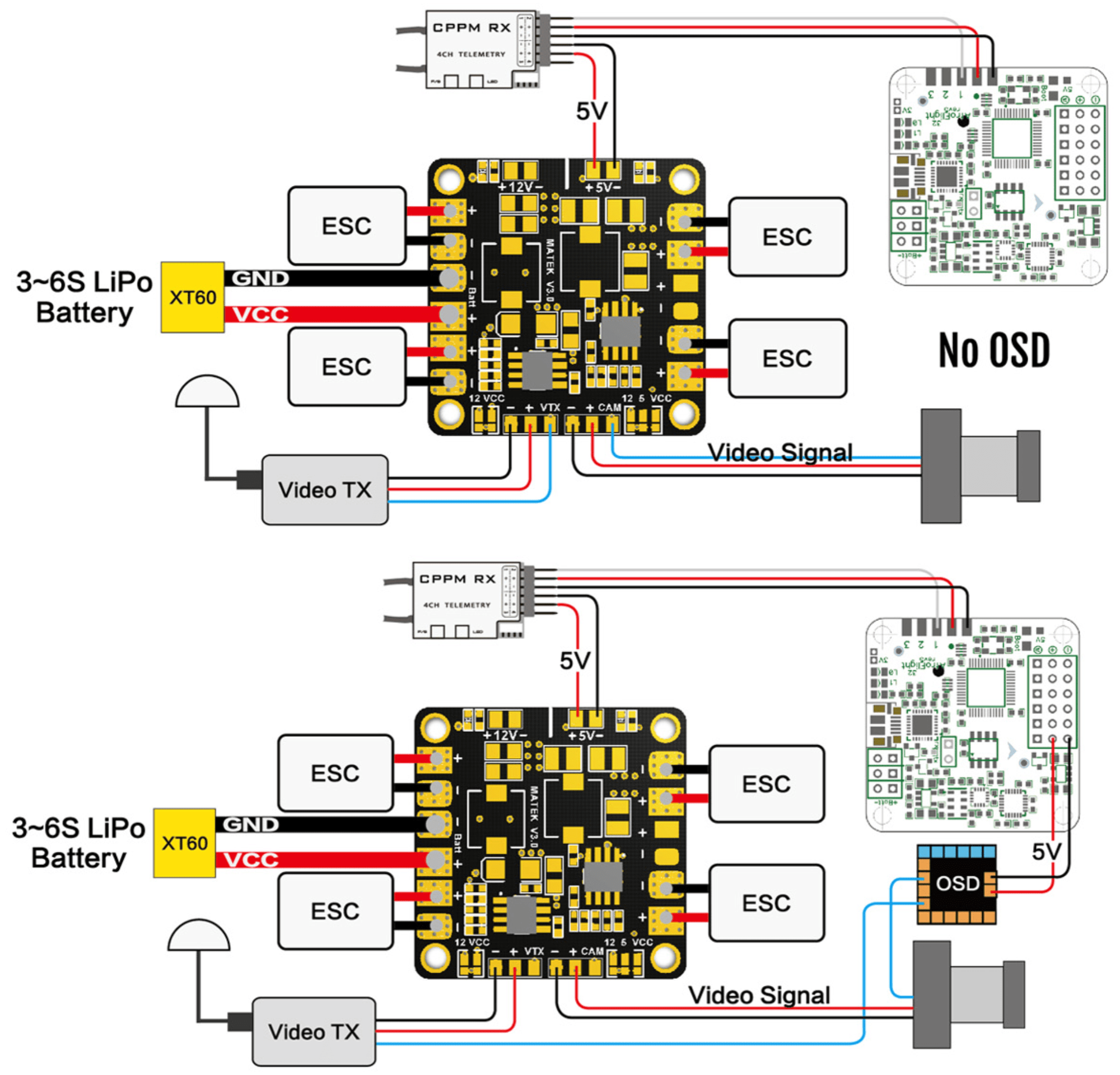 hight resolution of matek mini quad pdb with 5v 12v bec outputs 36x36mm flying tech bec wiring diagram for fpv