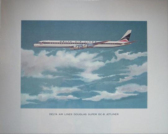 circa 1960 delta air lines dc 8 jetliner promotional poster by toigo