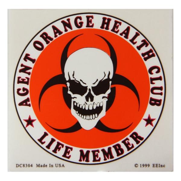 Agent Orange Health Club Life Member Outside Window Decal   Flying Tigers Surplus