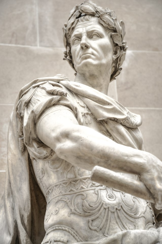 A statue of Gaius Julius Caesar, which is at the Lourve Museum in Paris, France