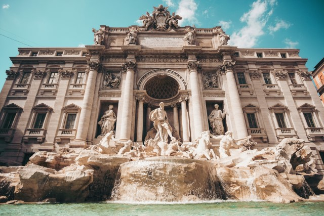 The famous Trevi Fountain in Rome, Italy (Italian: Fontana di Trevi).