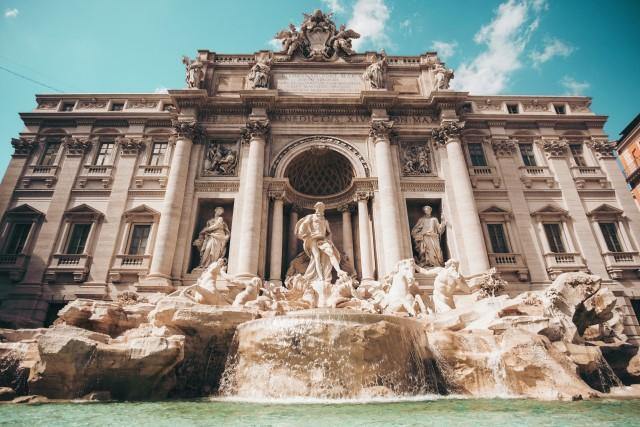 The famous Trevi Fountain in Rome, Italy (Italian: Fontana di Trevi).
