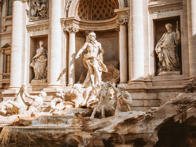 A close-up of the famous Trevi Fountain in Rome, Italy (One of the most famous fountains in the world)