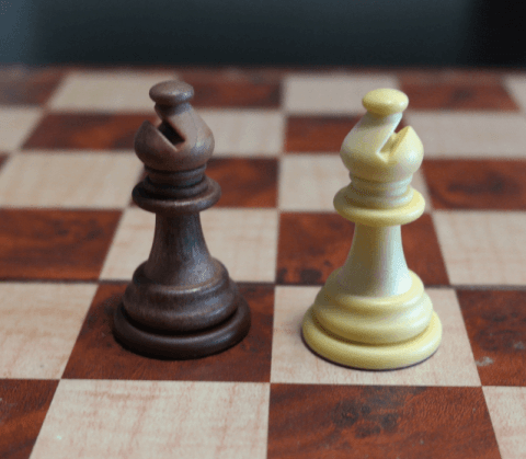 Bishop Chess Piece on a Chess Board