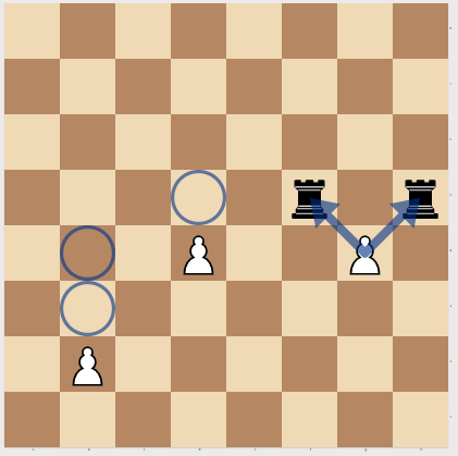 Pawn Moves in Chess (from left to right): 1. One or Two squares forward from the starting position 2. One square forward only after moving from the starting position 3. Capturing diagonally forward