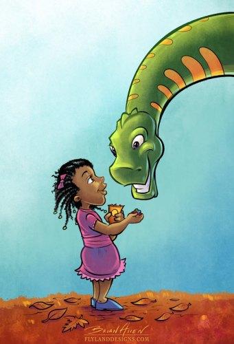 Children's Book Illustration of a dinosaur and little girl