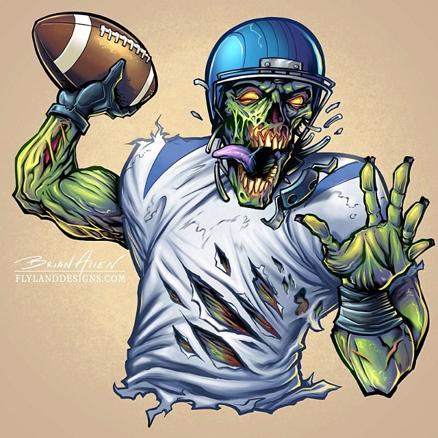 This illustration of a zombie football player was part series of sports mascots I did for Great Dane Graphics.