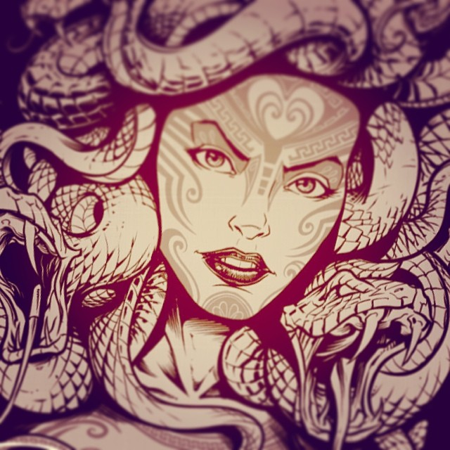 Medusa in the inked stage.