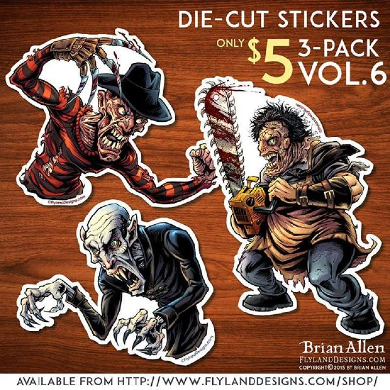 I just got these vinyl die-cut stickers printed from the awesome folks at  #VinylDisorder - They are available in my shop - a set of 3 for five bucks.  Freddy, Leatherface, and Nosferatu in all their horror movie glory.https://www.flylanddesigns.com/shop/#horror #freddy #leatherface #nosferatu #stickers#mangastudio #photoshop #illustration #tshirt #art #instaart #instaartist #picoftheday #igdaily #followme