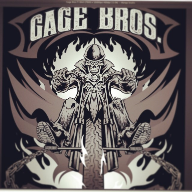 This is the start of a skeleton biker t-shirt design I did for a chop shop called gage brothers.