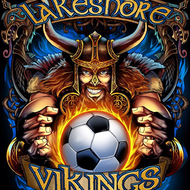 This is an illustration i created of a Viking mascot for a soccer team shirt.