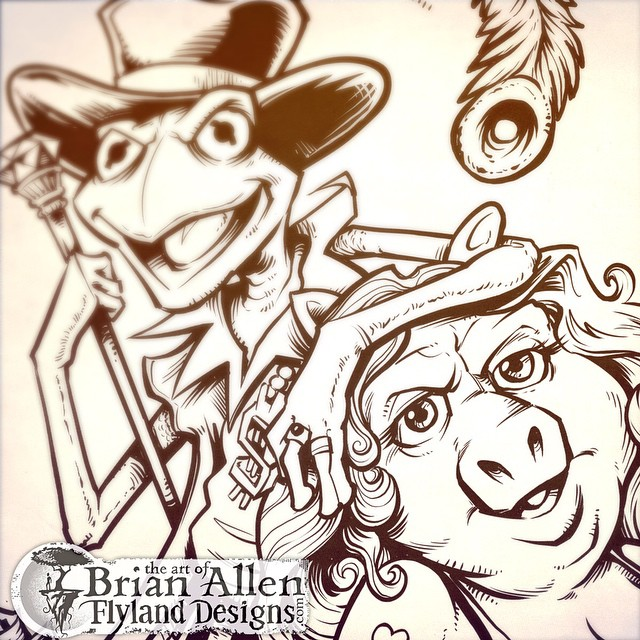 Inks for a new tshirt design called Pig Pimpin featuring Ms piggy and Kermit during darker times.Www.flylanddesigns.com