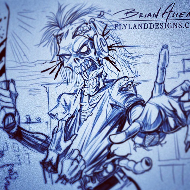 Pencil sketch of an illustration I created for a tribute to Iron Maiden 'Killers' album, one of my favorites.  I'll post the finished piece tomorrow, I rhino it turned out really cool.Illustration by Brian Allen www.flylanddesigns.com #art #digital #mangastudio #zombies #ironmaiden #killers #sketch # pencil