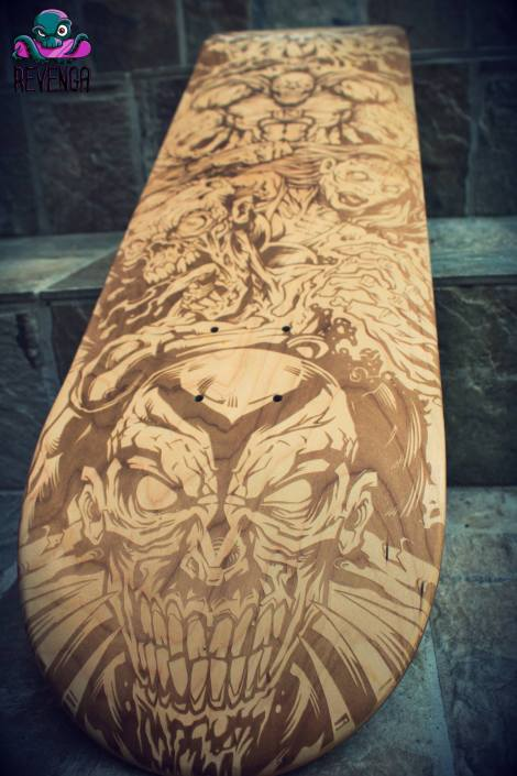 Laser-engraved skateboard design of a team of zombie superheroes