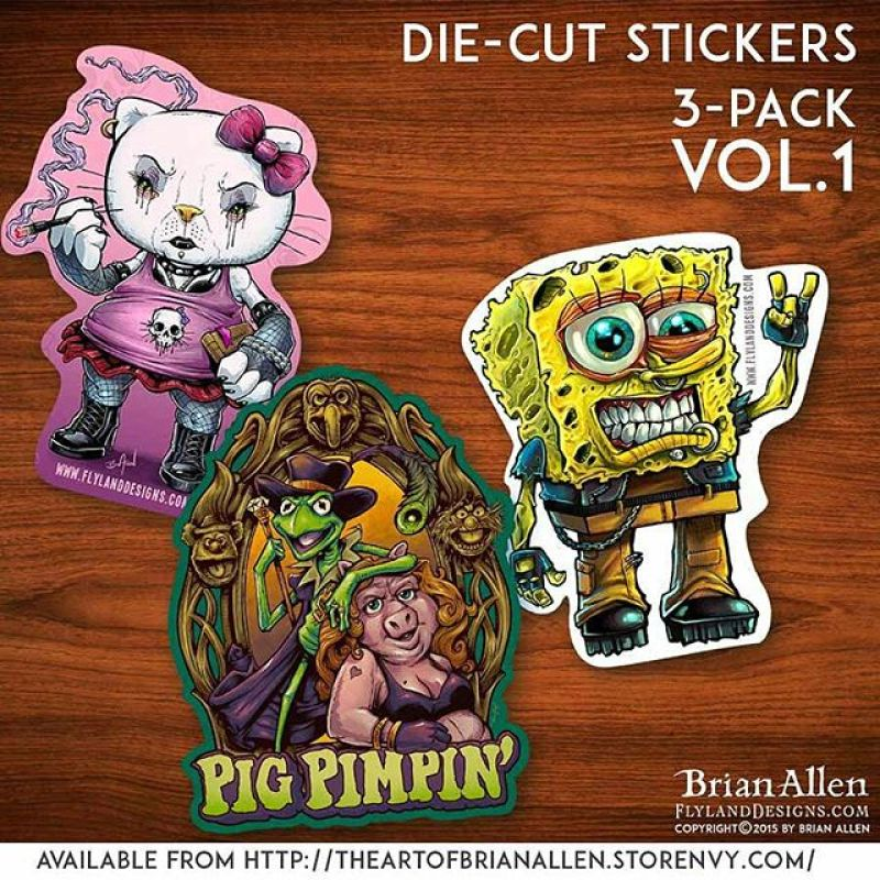 "So I've been wanting to produce and sell my own stickers for a while now, and finally had some time to do it.  The plan is to release a new 3-pack every couple months.  Here is volume 1 - featuring my artwork on die-cut 4""  vinyl produced by #VinylDisorder.  Only $5 for the set (plus shipping). Hope you guys like them!http://ow.ly/SGEA5 #vinyl #stickers #spongeBob #HelloKitty #muppets #diecut"