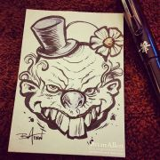 Scary Clown ink Sketch