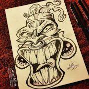 Tiki Mask ink Sketch