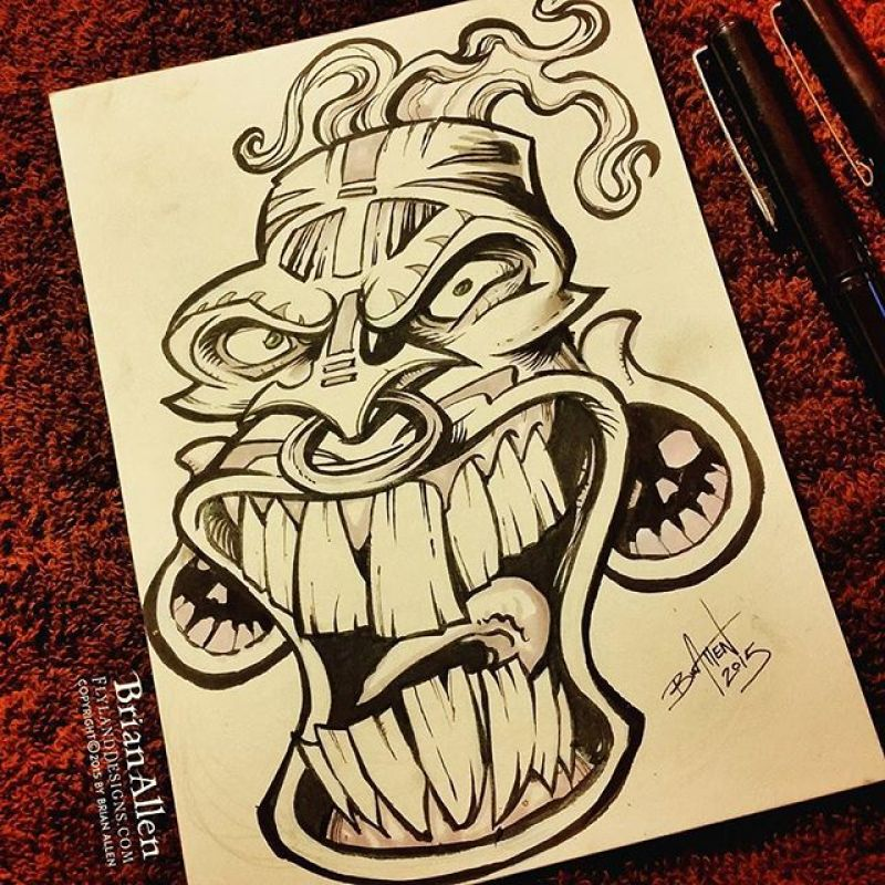Day 18 of #Inktober and #Drawlloween - My brain wasn't working today, so I decided to draw my go-to idea when I'm out of ideas:  the tiki #mask.  Thanks for all the encouraging support!#inktober #drawlloween #mask #tiki #ink #sketch #brush #blackandwhite #art #instaartist #brianallen