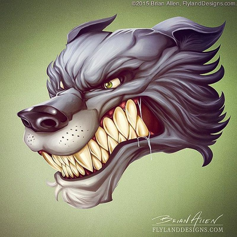Graphic mascot illustration I created in Manga Studio and Photoshop of any angry wolf head, created for #GreatDaneGraphics.  I'd like to create a whole series of these - mascots need to be more angry.#wolf #mascot #digitalpainting#mangastudio #photoshop #illustration #tshirt #art #instaart #instaartist #picoftheday #igdaily #followme