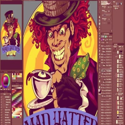 New speed painting video on my YouTube channel  https://www.youtube.com/user/flylanddesigns Mad Hatter for Russ Bus logo#russ #madhatter #clipstudiopaint #art