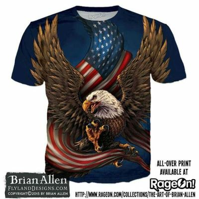 Got my patriotic eagle illustration up on RageOn as an all-over print - GET SOME 'MURICA!!https://www.rageon.com/products/american-eagle-and-flag?variant=21200251012#eagle #patriotic #apparel #t-shirt
