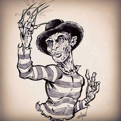 Inktober 27th - Duckface Freddy Selfie - It's pretty hard to draw a character who traditionally doesn't have lips doing duckface.  I want to do a couple of these.  Which horror character should I do tomorrow?#freddy #selfie #duckface #inktober #ink #sketch #brush #blackandwhite #art New Artwork From Instagram
