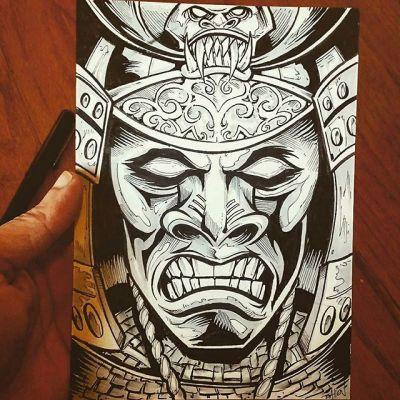 Inktober day 18 - Samurai inking action#inktober#samurai  #ink #sketch #brush #blackandwhite #art #instaartist #brianallen New Artwork From Instagram