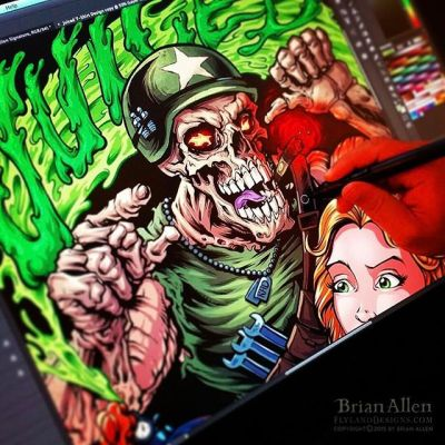 """And here are the colors for the """"Juiced"""" design I created for Commando Racing Gear -These designs were created in full-color, and the print shop did an awesome job of separating the colors for silk-screen. ⠀#art #illustration #tshirt #skull #racing #freelance #FlylandDesigns New Artwork From Instagram"""